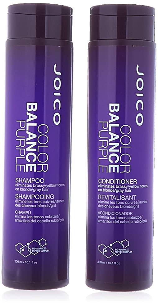Joico Color Balance PURPLE Shampoo & Conditioner DUO Set (with Sleek Compact Mirror) (10.1 oz / 300ml - Retail DUO Kit)