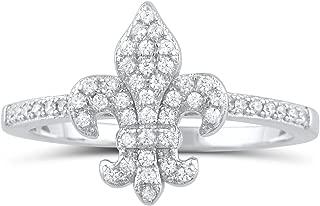 Sterling Silver Cz Fleur De Lis Ring (Size 4-9)