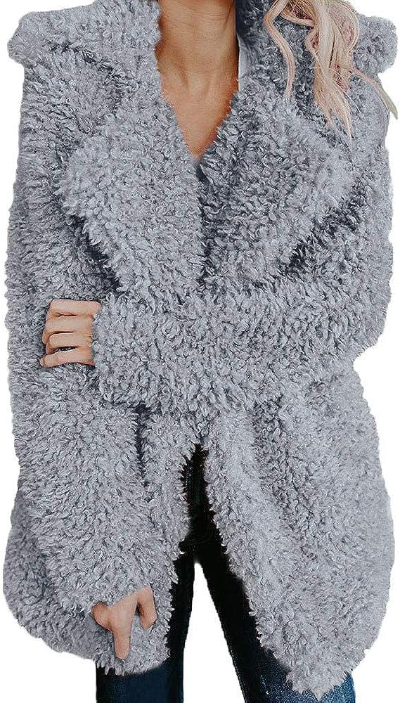 Womens Tops Casual Fleece Faux Shearling Lapel Long Sleeve Wool Blend Coats Winter Oversized Outerwear Jackets