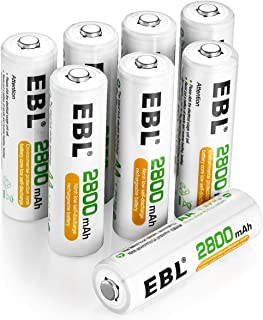 EBL Pack of 8 AA Batteries 2800mAh High Capacity Precharged Ni-MH AA Rechargeable Batteries