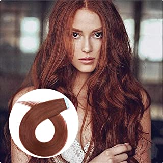 ShowCoco True Copper/Vibrant Red Brown/Dark Auburn (#33) Tape in Hair Extensions Real Human Hair 16 inches Remy Tape in Skin Weft Hair Extensions 30 Grams(20pcs/pack)