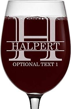Personalized Etched Monogram 16oz Stemmed Wine Glass, Halpert