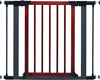 Steel Pet Gate w/Textured Graphite Frame & Decorative Wood Door, 29H x 28-38W Inches