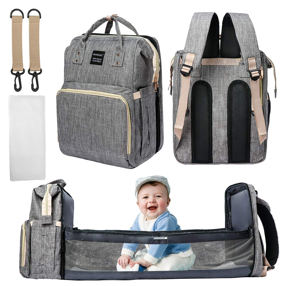 Diaper Bag Backpack, 3-in-1Foldable Baby Waterproof Travel Bag with Stroller Straps (Grey)