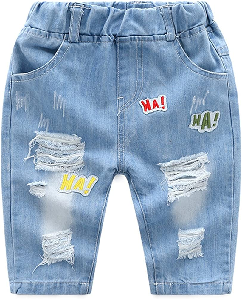 Motteecity Boys Clothes Embroidered Elastic Skinny Casual Inventory cleanup selling Cheap SALE Start sale Ripped