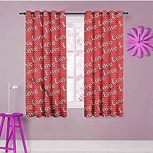 EMODFJCXZ Novel Curtains Love Polka Dotted Pattern Romance Print Bedroom Curtains Decor W63 x L72 Inch