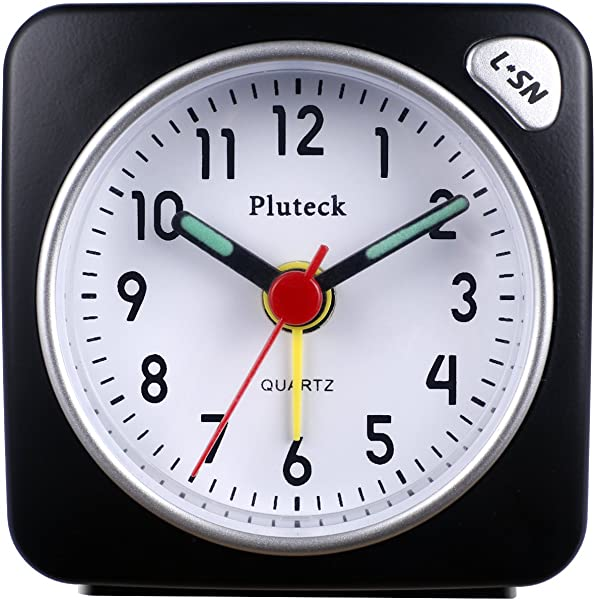 Pluteck Non Ticking Travel Alarm Clock With Light And Snooze Ascending Sound Alarm Simple To Set Clocks Battery Powered Small Black