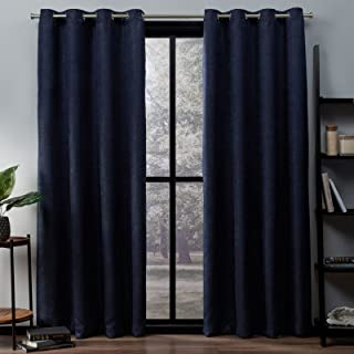 Exclusive Home Curtains Oxford Woven Blackout Grommet Top Panel Pair, Navy, 52x96, 2 Piece