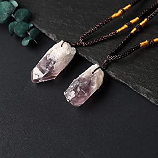 LANGTAOMY Pierre Chakra Aquamarine Naturelle, Pendentif en Pierre de guérison, minéraux de gemmes, Collier d'améthyste Cad...