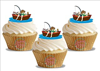 Fishing Boat Gone Fishing! 12 Standup Edible Premium Wafer Paper Cake Toppers Decoration 12 X 55Mm