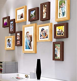 Art Street Synthetic Wood Decorative Nebula Individual Wall Photo Frames with Hanging Accessories (Brown and Beige, Mix Si...
