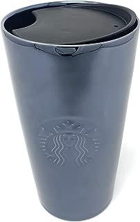 Starbucks Gloss Black Traveler Tumbler Coffee Mug With Recessed Logo - 12 oz
