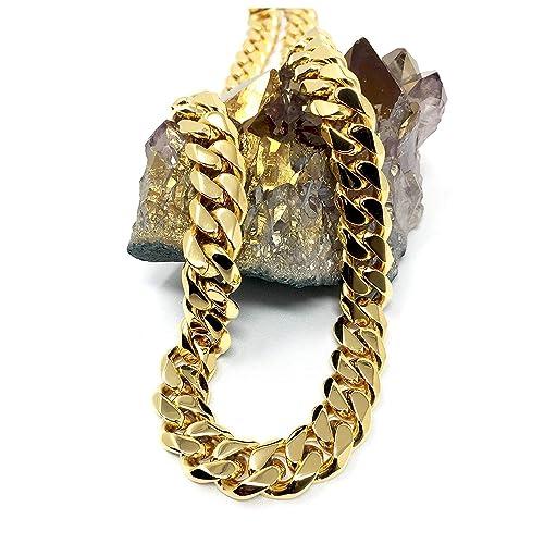 e7d19ee15641c Gold Cuban Link Chain Necklace for Men Real 11MM 14K Karat Diamond Cut  Heavy w Solid