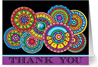 Thank You Cards – 24 Pack – Paisley Floral Thank You Purple – Unique Design – PLUM PURPLE ENVELOPES INCLUDED –Appreciation Greeting Card – Glossy Cover Blank Inside – By Note Card Café