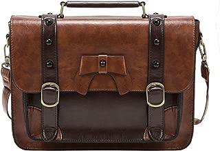 ECOSUSI Vintage Crossbody Messenger Bag Satchel Purse Handbag Briefcase for Women & Girl, Coffee