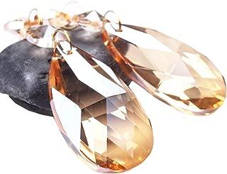 BIHRTC Pack of 12 Amber Crystal Teardrop Chandelier Prisms Pendants Hanging Galss Crystal Pendants Beads