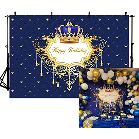 LB 7x5ft Balloon Birthday Backdrop Crown Ribbon Decor Black and Gold Photography Background for Party Supplies Decorations,Photoshoot Studio Props
