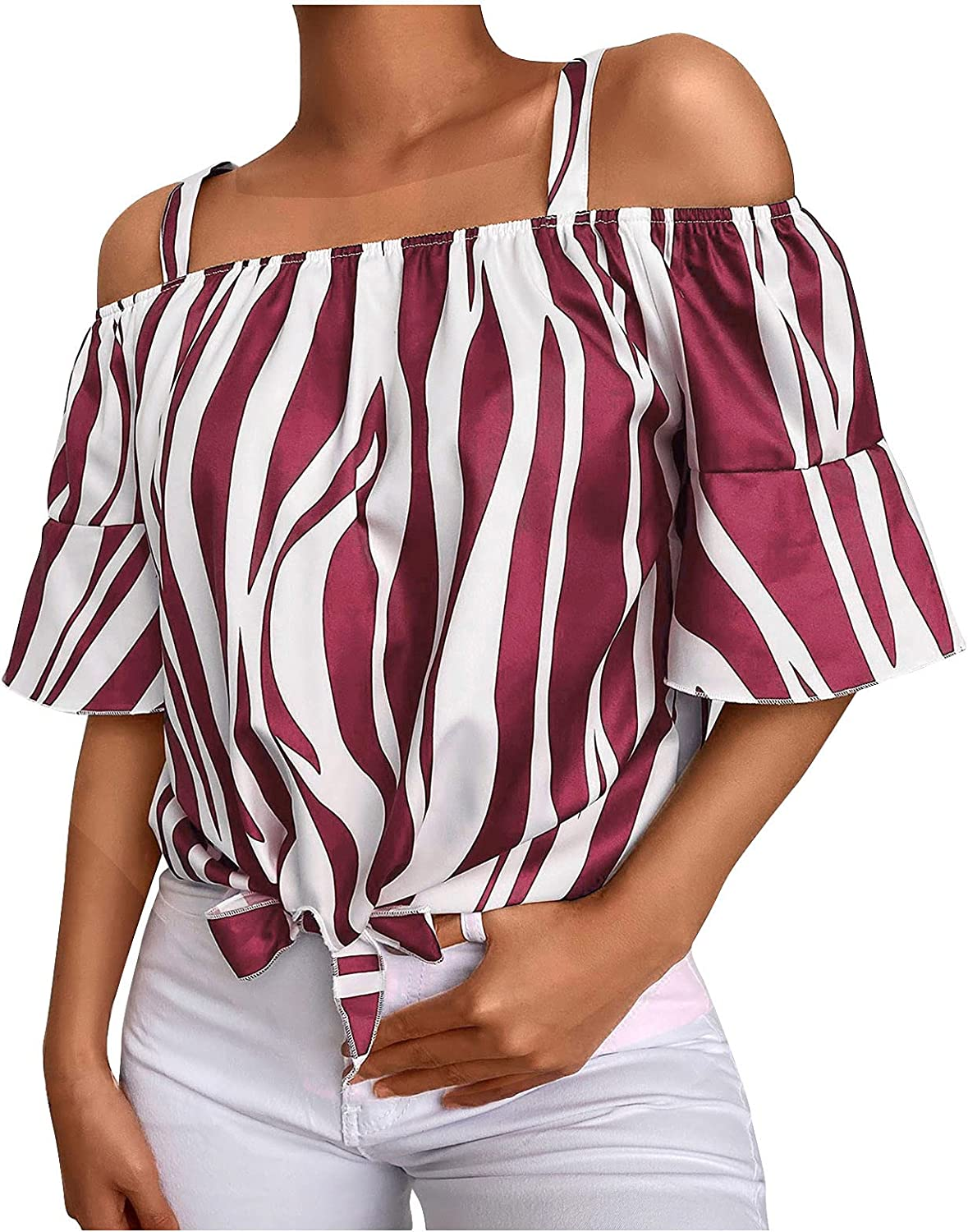 Off Shoulder Tops for Women Sexy Casual Summer Striped 3/4 Bell Sleeve Flowy Blouses Shirts Tunics