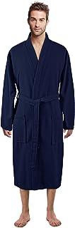 100% Luxurious Turkish Cotton Waffle Diamond Pattern Kimono Spa Bathrobe for Men