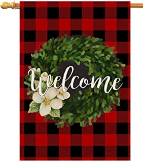 BLKWHT Red Black Buffalo Boxwood Wreath House Flag Welcome Christmas Vertical Double Sided Inch Winter Yard Outdoor Decor 28 x 40 Inch (102809)