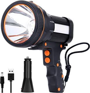 Rechargeable spotlight,Super Bright 7800 Lumens LED Searchlight Handheld,and Flood Camping Flashlight with Foldable Tripod...