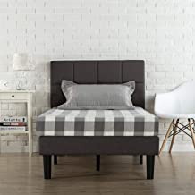 Zinus Classic Upholstered Geometric Square Stitched Headboard Fabric Single Bed Frame Mattress Support Foundation - Wooden...