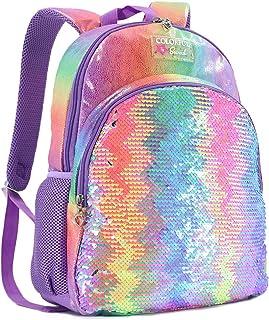 Teen Girls School Backpacks Elementary School Supplies Bookbags Reversible Flip Sequin Rainbow