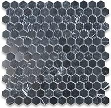 Nero Marquina Black Marble Hexagon Mosaic Tile 1 inch Polished