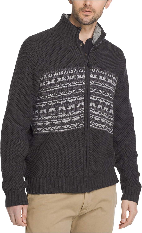 G.H. Bass & Co. Mens Rock Ridge Full-Zip Cardigan Sweater, Grey, Medium