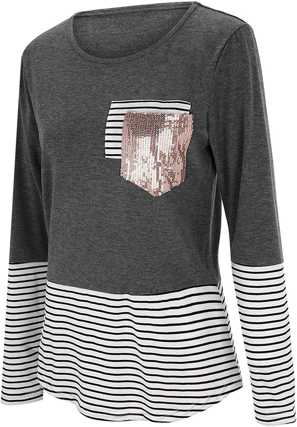 Bottoming Shirts for Women Trendy Long Printed Stitching Max 52% OFF Elegant Stripe