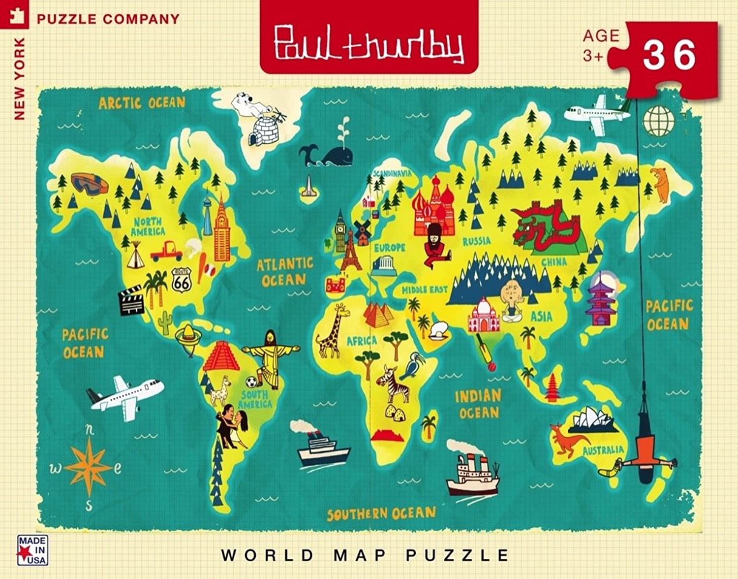 New York Puzzle Company  Paul Thurlby World Map  36 Piece Jigsaw Puzzle