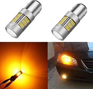 Alla Lighting BAY15D 1157 LED Bulbs Super Bright 4014 54-SMD LED 2357 2397 Bulb Amber Yellow 198 1034 LED Turn Signal Blinker Light Bulbs for Cars, Trucks, Motorcycles (Set of 2)