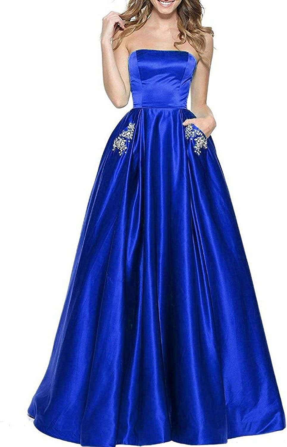 20KyleBird ALine Strapless Prom Dresses Long 2018 Satin Beaded Evening Party Gowns for Women with Pockets KB005