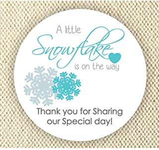 Baby Boy Shower Stickers - A Little Snowflake is on the way Stickers - Thank you for Celebrating with me Labels