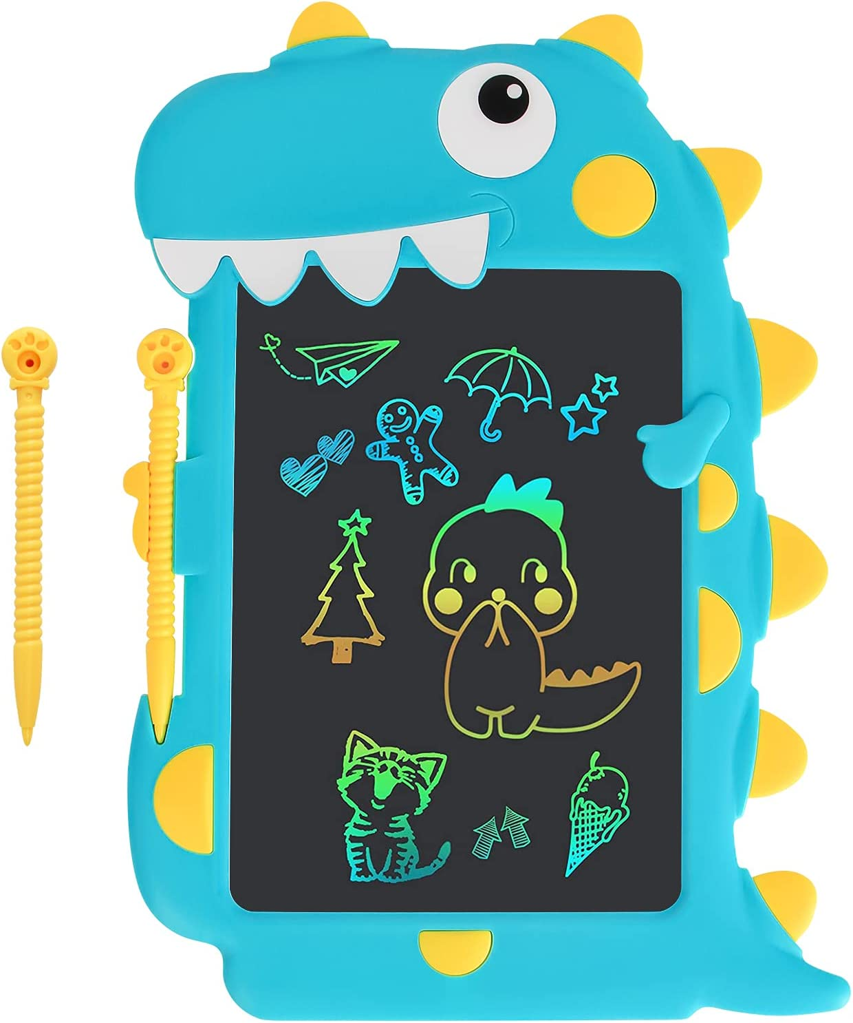CuFun LCD Writing Tablet 9 inch Toddler Doodle Board Drawing Tablet Colorful Screen Pad Learning Educational Toy for Kids Scribbler Pad for 3 4 5 6 7 Years Old Boys and Girls (Blue Crocodile)