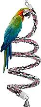 Aigou Bird Spiral Rope Perch, Cotton Parrot Swing Climbing Standing Toys with Bell