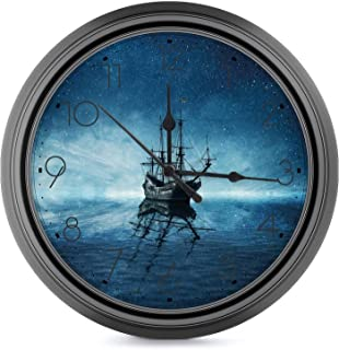 Silent Non Ticking - 10 Inch European Style Wall Clock Pirate Ship,Ship on Dark Blue Sea with Starry Night Sky Water Refle...