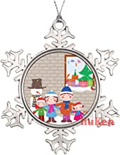 Happy Family in Christmas Eve Metal Snowflake Christmas Ornaments for Tree The Home Bedroom Decor for Kids Xmas Keepsake