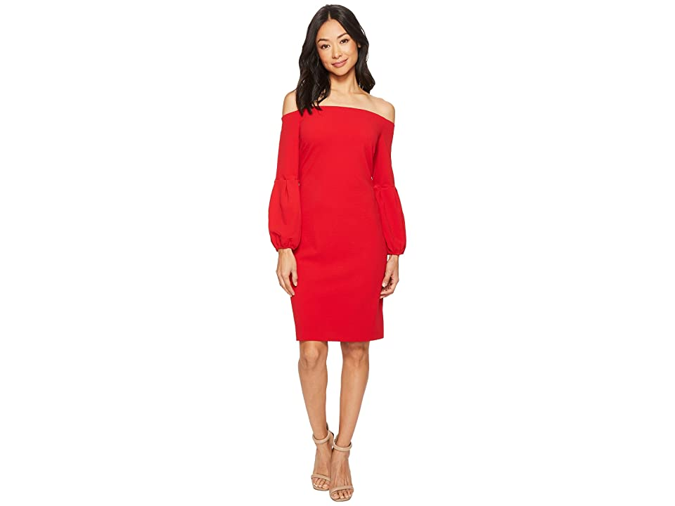 Vince Camuto Off Shoulder Bubble Sleeve Crepe Ponte Dress (True Crimson) Women