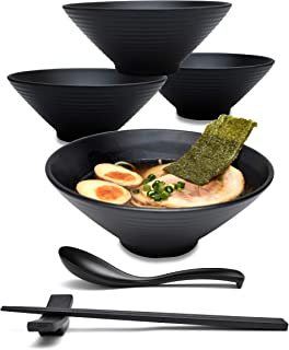 4 Sets (16 Pieces) 30 Ounce Japanese Ramen Noodle Soup Bowl Melamine Hard Plastic Dishware Set with Matching Spoon and Chopsticks for Udon Soba Pho Asian Noodles (4, Black, 7.5 inches)