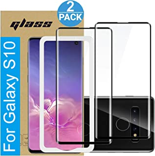 Amuoc Compatible with Samsung Galaxy S10 Screen Protector, Fully Adhesive 3D Curved Tempered Glass Film for Samsung Galaxy S10, 2-Pack HD Clear