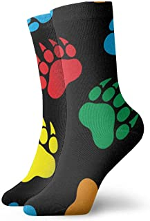 wwoman, Calcetines de vestir estampados para hombres y mujeres Bear Paw 1 Colorful Funny Novedad Crazy Crew Calcetines 30 cm