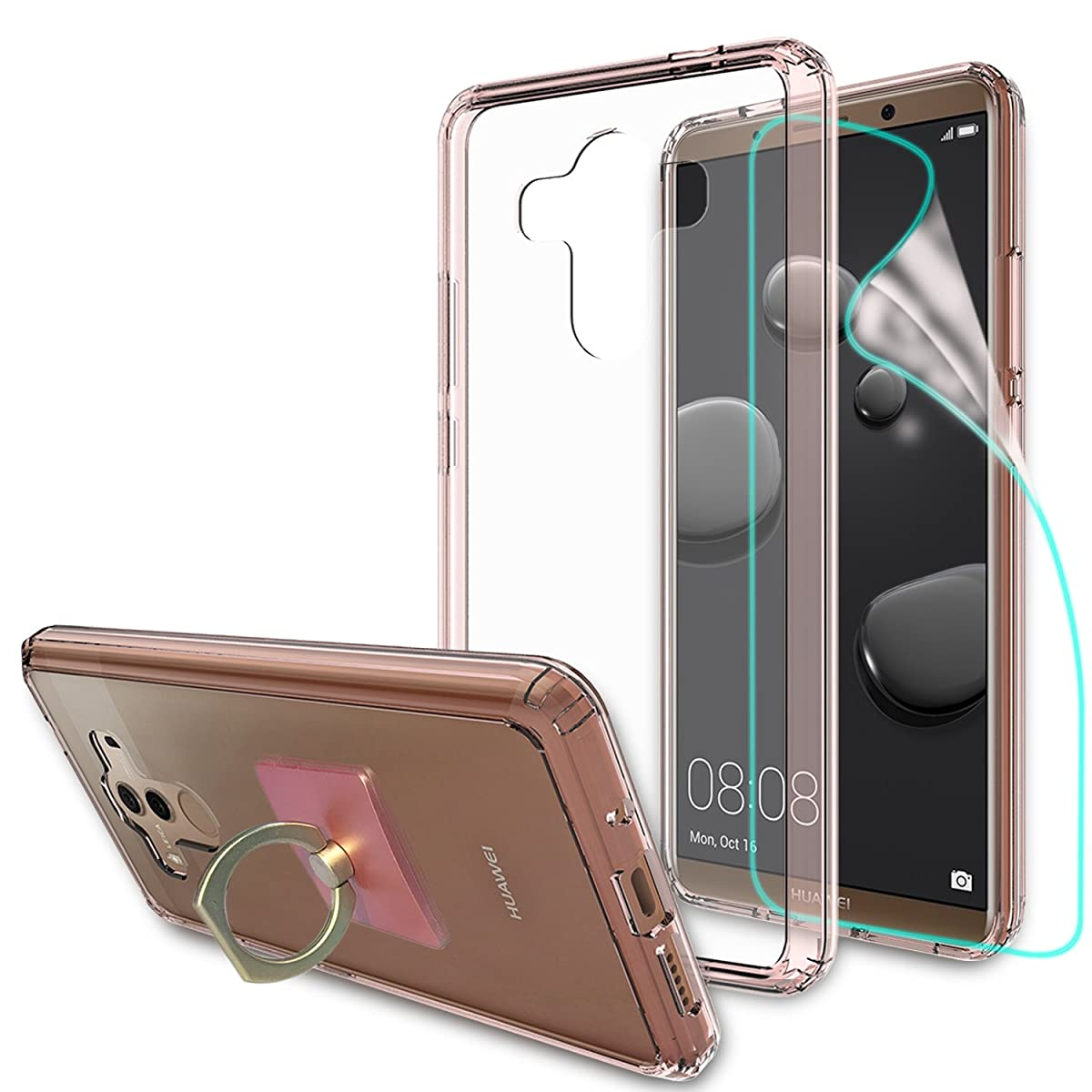 Huawei Mate 10 Pro Clear Case With HD Screen Protector + Phone Stand,Ymhxcy [Anti-Scratch] [Shock Absorption] [Air Hybrid] Ultra Slim Bumper Cover For Huawei Mate 10 Pro (6