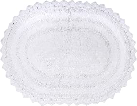 DII 100% Cotton Crochet Large Oval Luxury Spa Soft Bath Rug, for Bathroom, Vanity, and Dorm Room - 21x34, White
