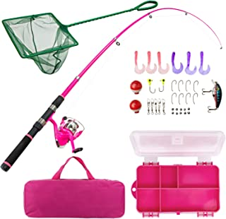 Lanaak Pink Fishing Pole and Tackle Box - Telescoping Rod with Spinning Reel, Net, Travel Bag, and Beginner's Guide - Kids Fishing Rod and Reel Kit