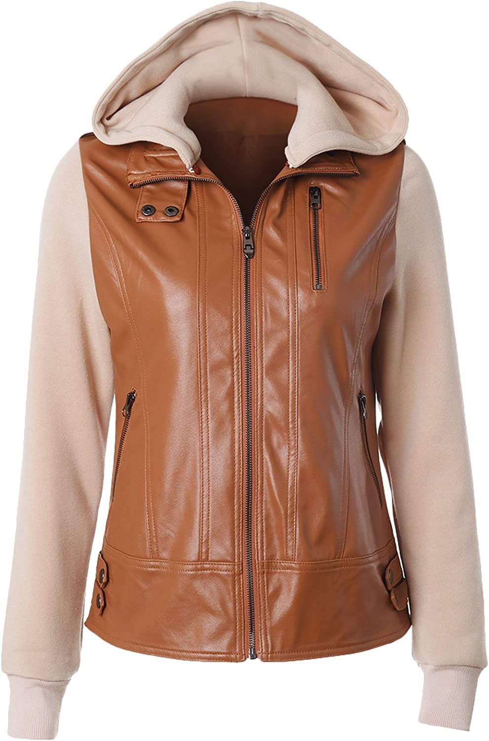 Youhan Women's Fit Hooded Faux Leather Jacket
