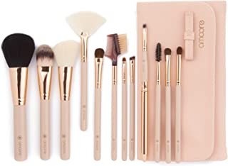 amoore Makeup Brushes 12pcs Makeup Brush set Makeup Brush with Case Foundation Brush Powder Brush