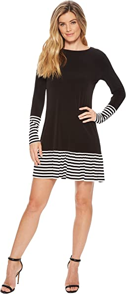 MICHAEL Michael Kors - Striped Flounce Long Sleeve Dress