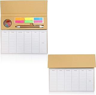 دفتر مخطط أسبوعي لسطح المكتب مع قائمة المهام والملاحظات اللاصقة - عبوة من 2