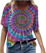 Routinfly T-shirty damskie, letnie bluzki, tunika, dla nastolatków, na lato, moda damska, nadruk na całe ciało, dekolt w k...